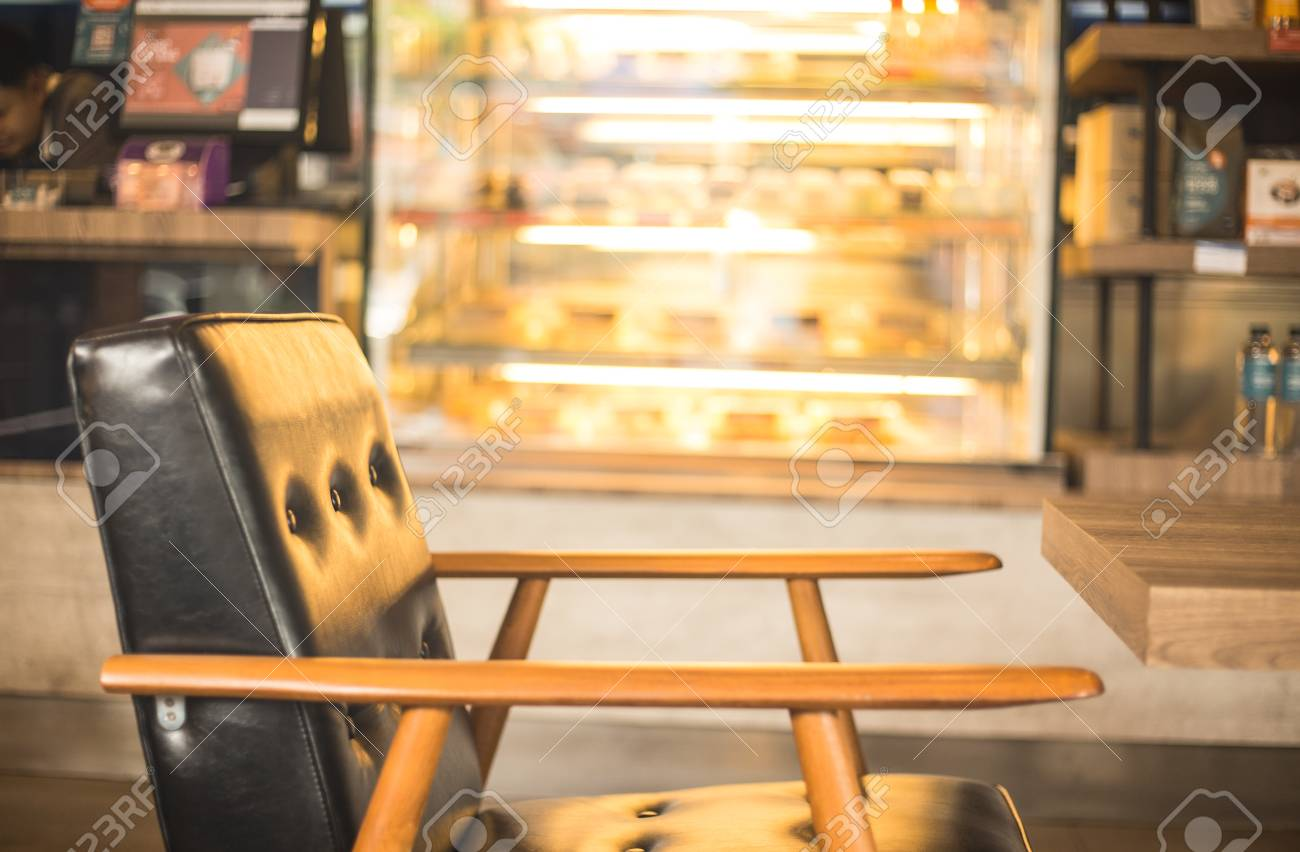 Space of coffee shop with leather chair wooden and coffee bar