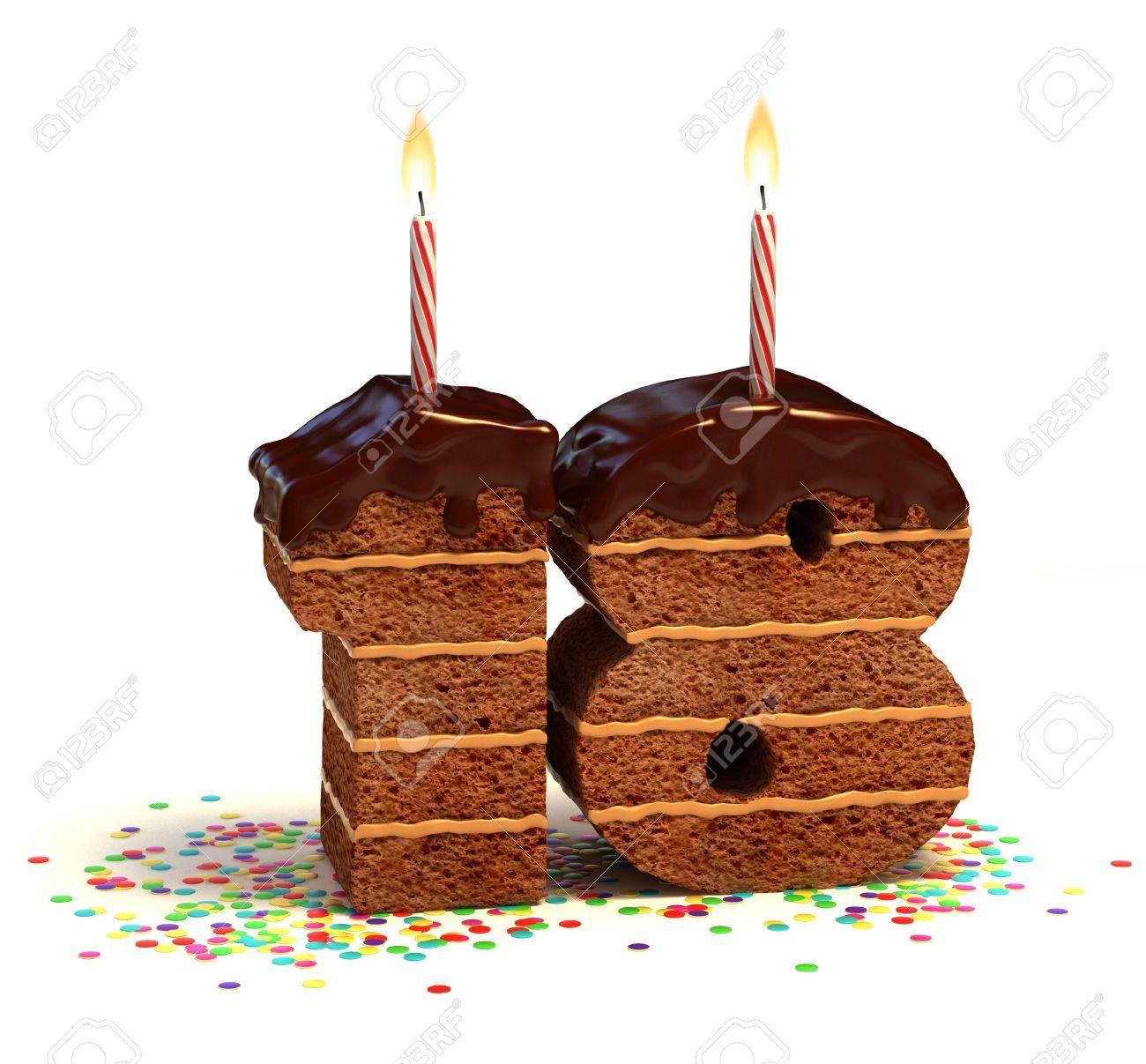 Chocolate Birthday Cake Von Konfetti Umgeben Mit Brennenden Kerze Fur Einen Achtzehnten Geburtstag Standard Bild