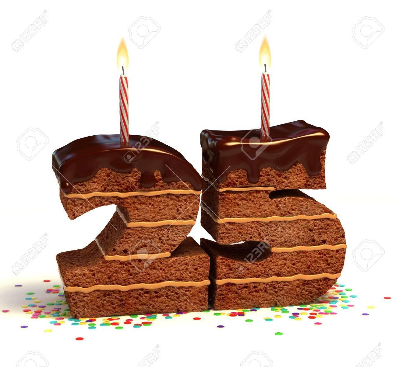Chocolate Birthday Cake Von Konfetti Umgeben Mit Brennenden Kerze Fur Einen 25 Geburtstag Oder Jubilaum