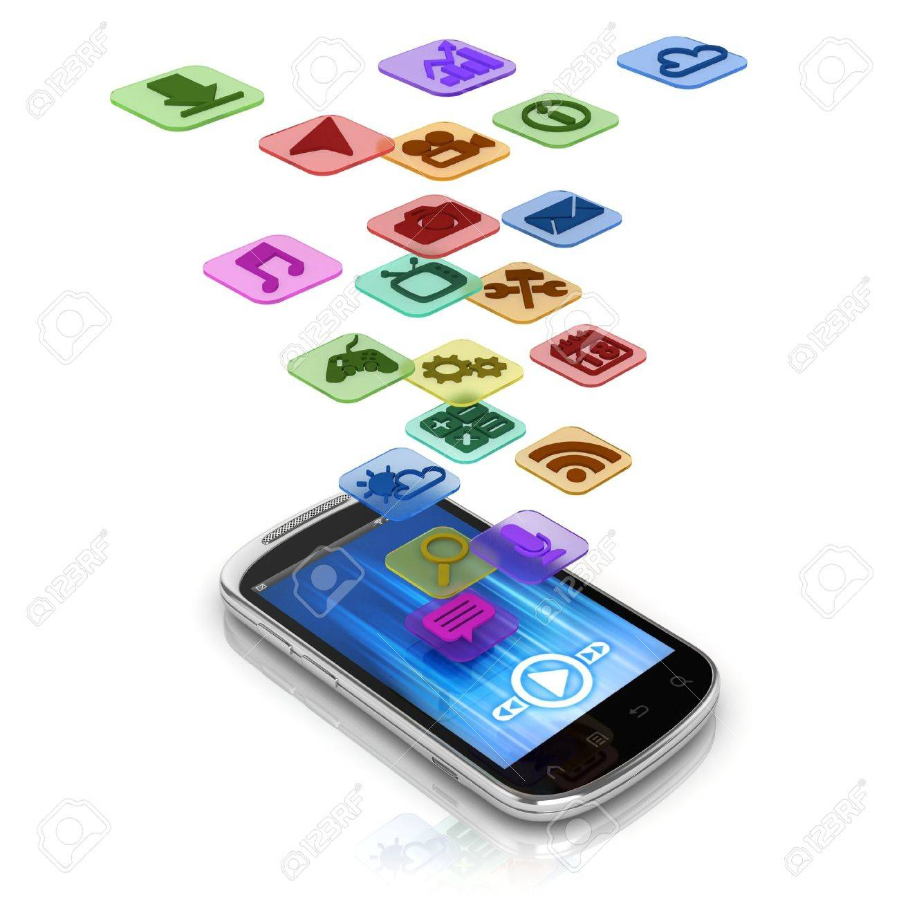 app 3d concept - smart phone application icons Stock Photo - 12330803