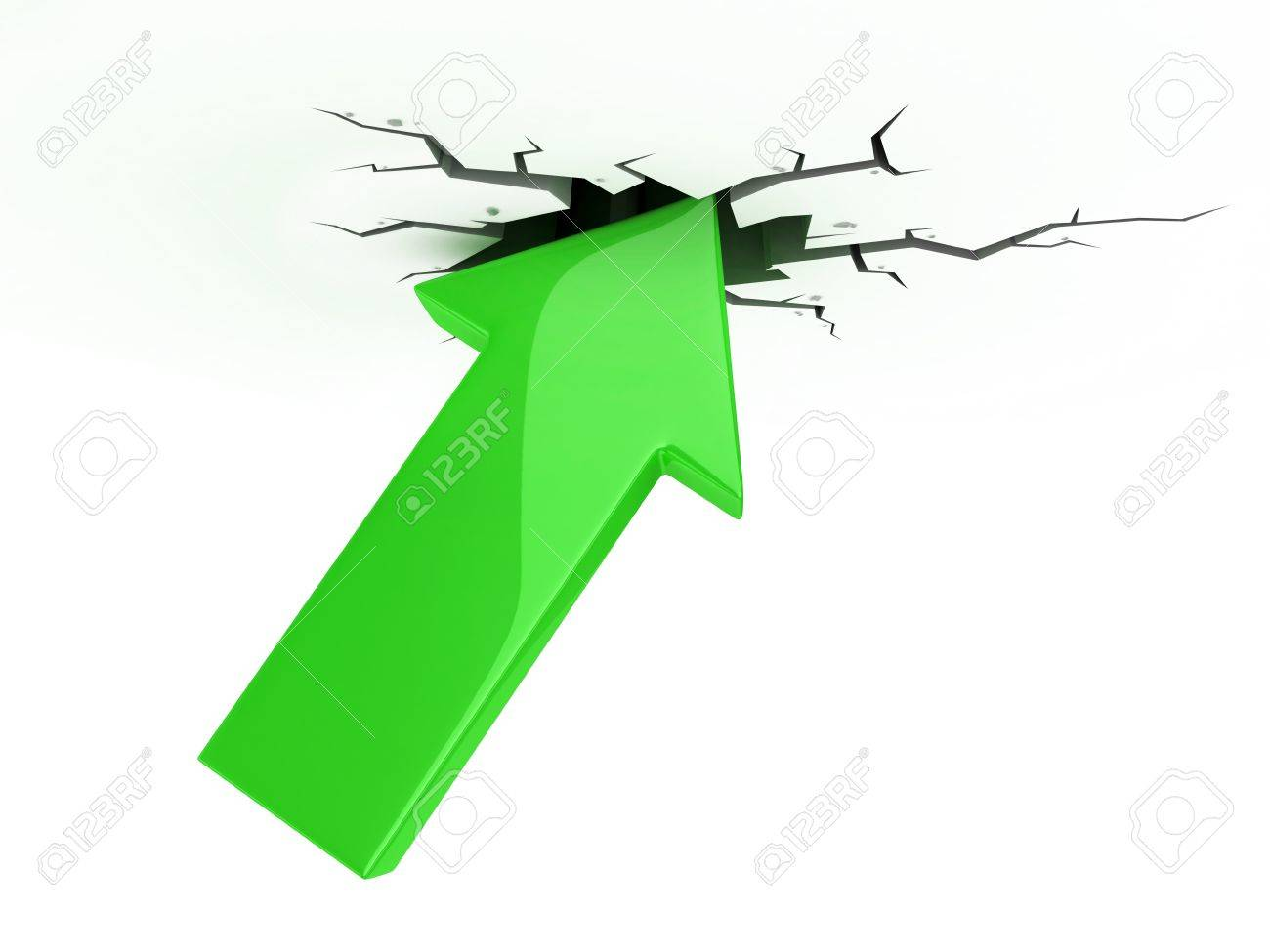 success, growth, profit 3d icon - green arrow break up the ceiling Stock Photo - 12330796