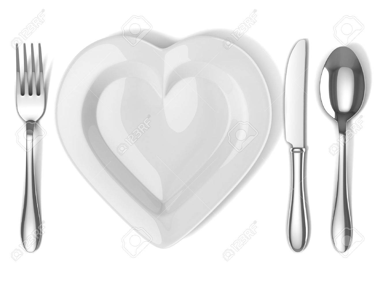 heart shaped plate with silverware Stock Photo - 12319700