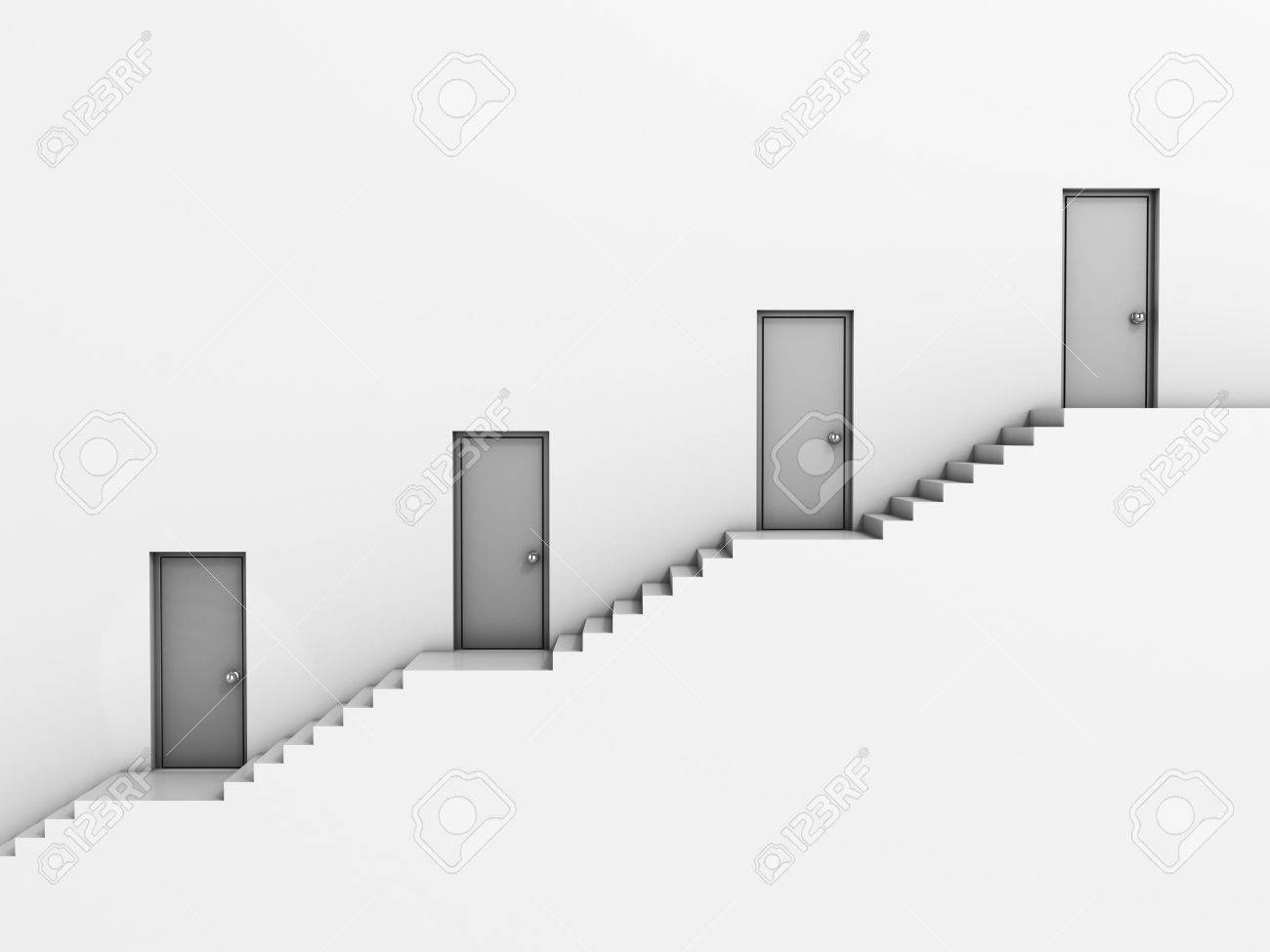 business hierarchy 3d concept - staircase with doors Stock Photo - 12330851 & Business Hierarchy 3d Concept - Staircase With Doors Stock Photo ...