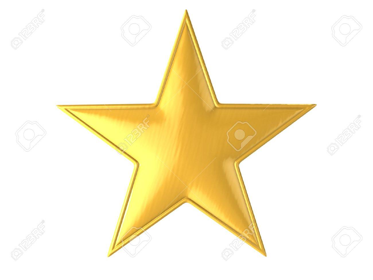 golden star isolated over white background 3d illustration - 12330819
