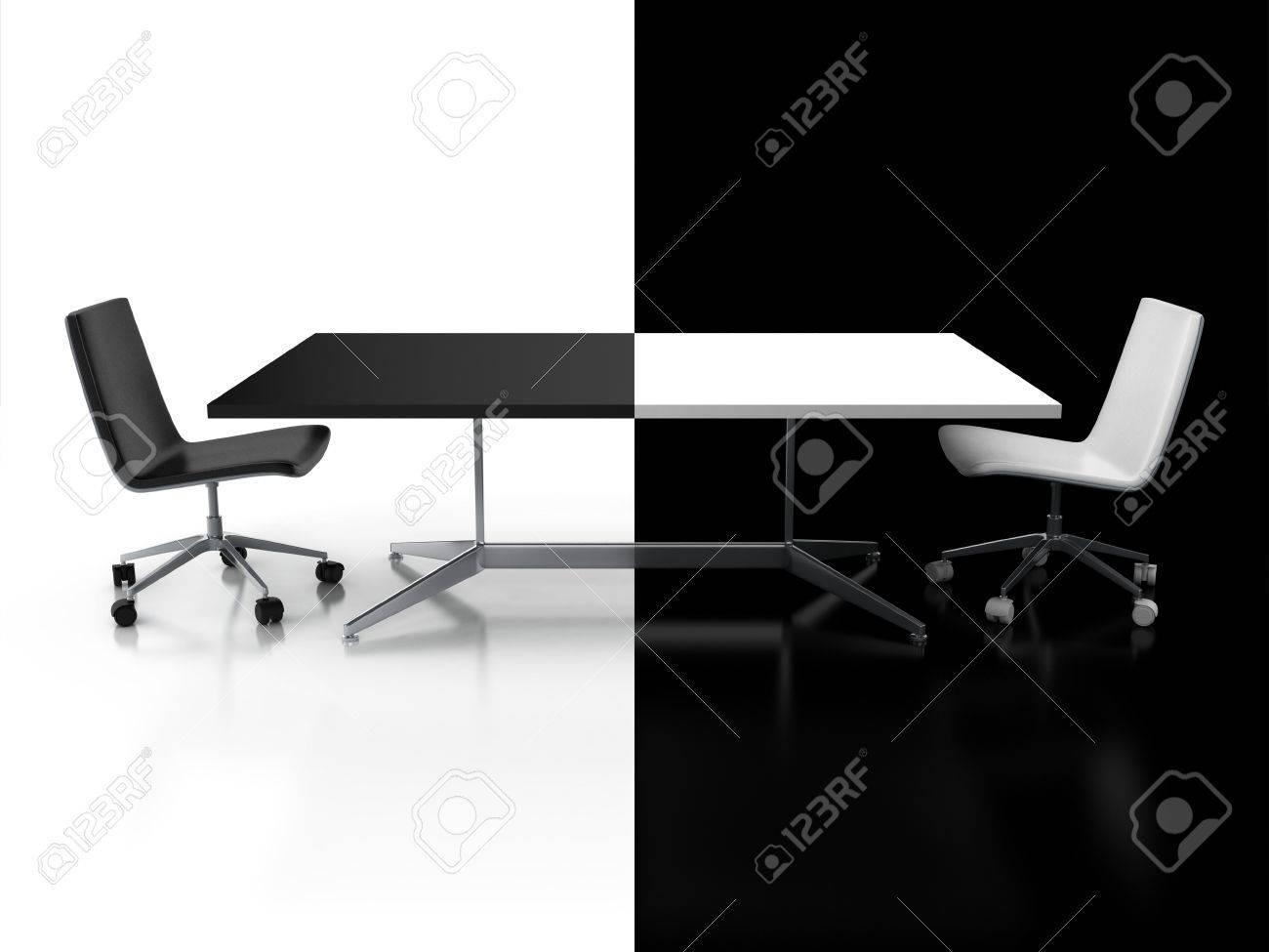 Bureau Noir Et Blanc négociations, le concept confrontation 3d - bureau noir et blanc