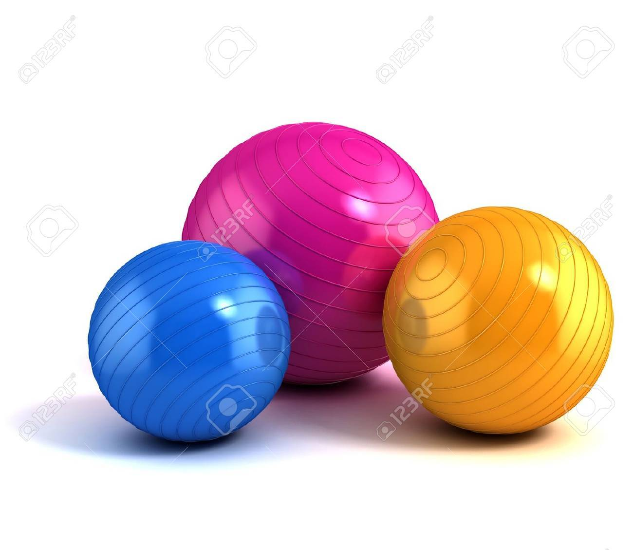 colorful fitness balls isolated on whiteFitness Ballen #4
