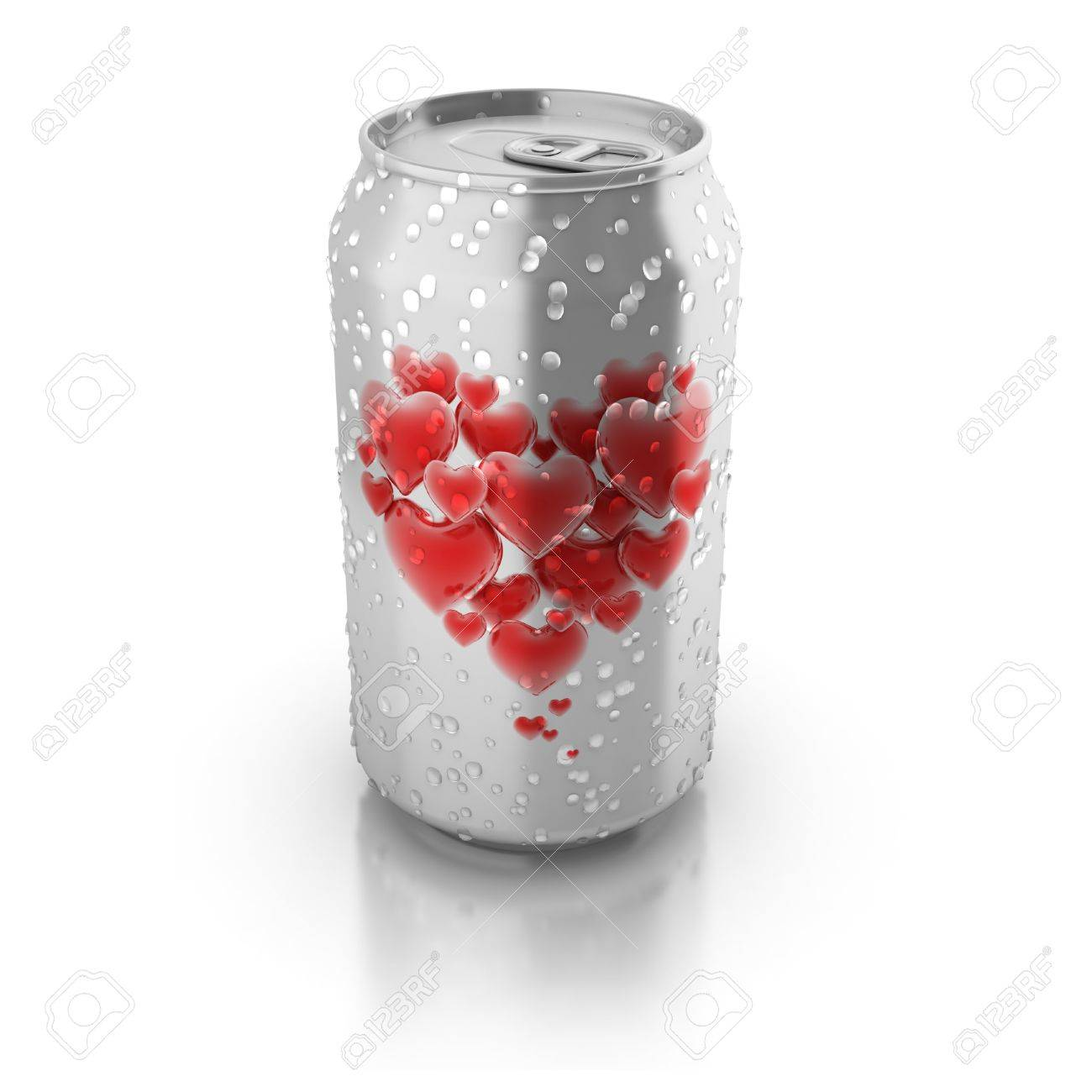 love potion 3d concept - love hearts printed on aluminium can Stock Photo - 12330934