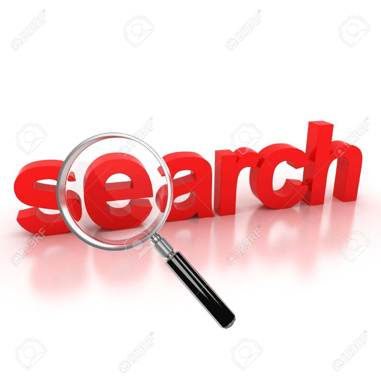 search icon - search 3d letters under the magnifier Stock Photo - 12330895