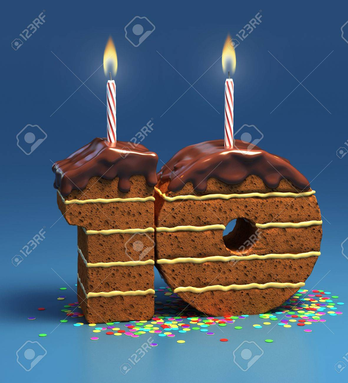 Chocolate birthday cake surrounded by confetti with lit candle for a tenth birthday or anniversary celebration Stock Photo - 12331008