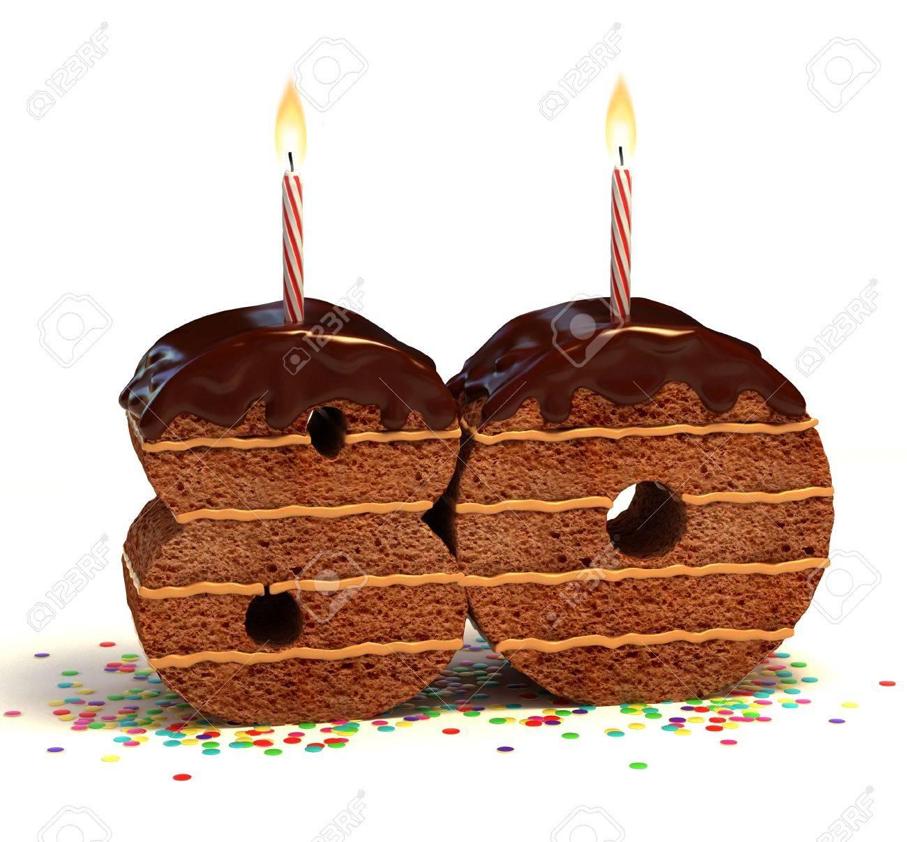 Chocolate Birthday Cake Von Konfetti Umgeben Mit Brennenden Kerze Fur Einen 80 Geburtstag Oder Jubilaum