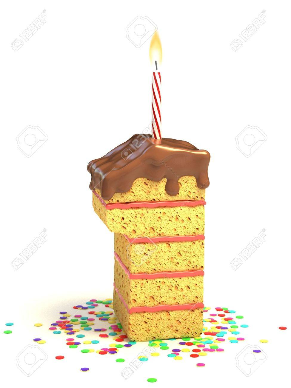 Number One Shaped Chocolate Birthday Cake With Lit Candle And Confetti Stock Photo