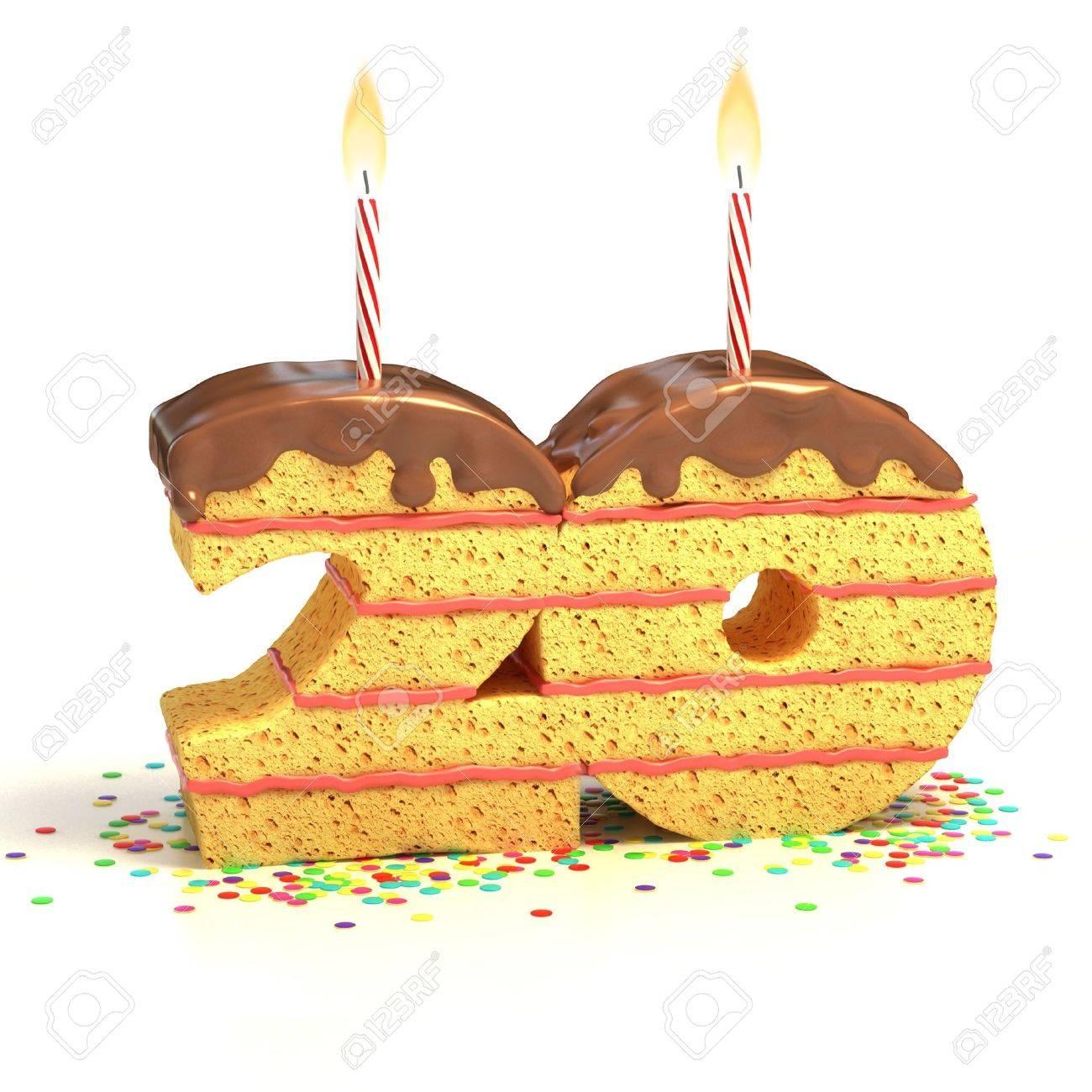 Chocolate Birthday Cake Von Konfetti Umgeben Mit Brennenden Kerze Fur Einen 20 Geburtstag Oder Jubilaum