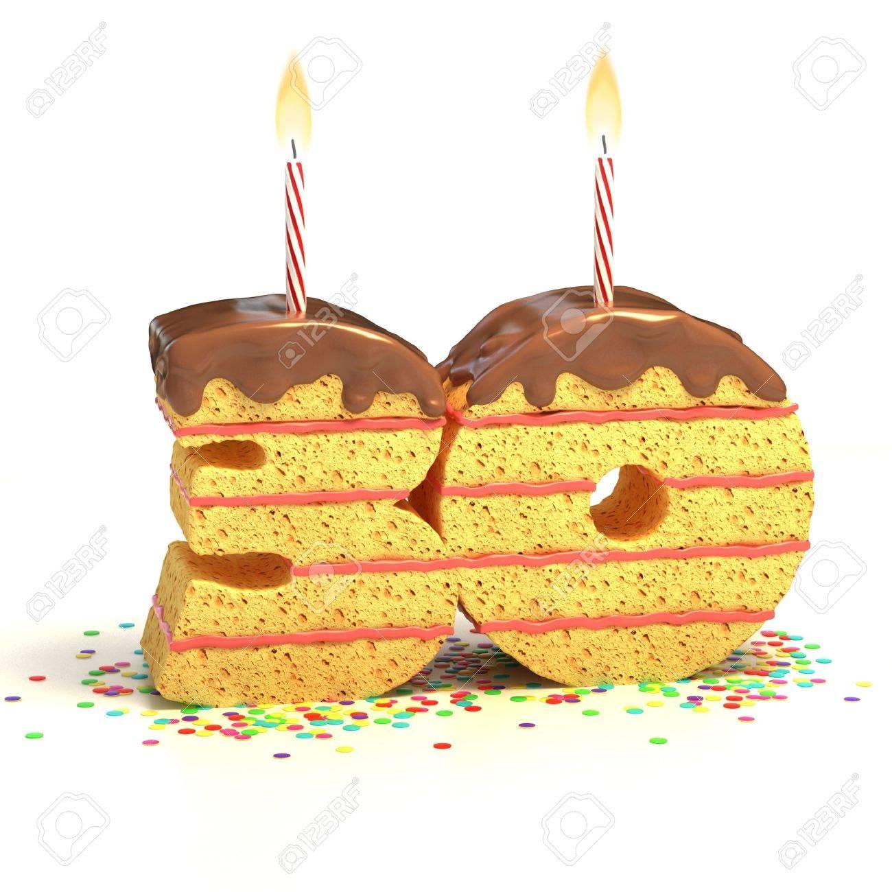 Chocolate Birthday Cake Von Konfetti Umgeben Mit Brennenden Kerze Fur Einen 30 Geburtstag Oder Jubilaum