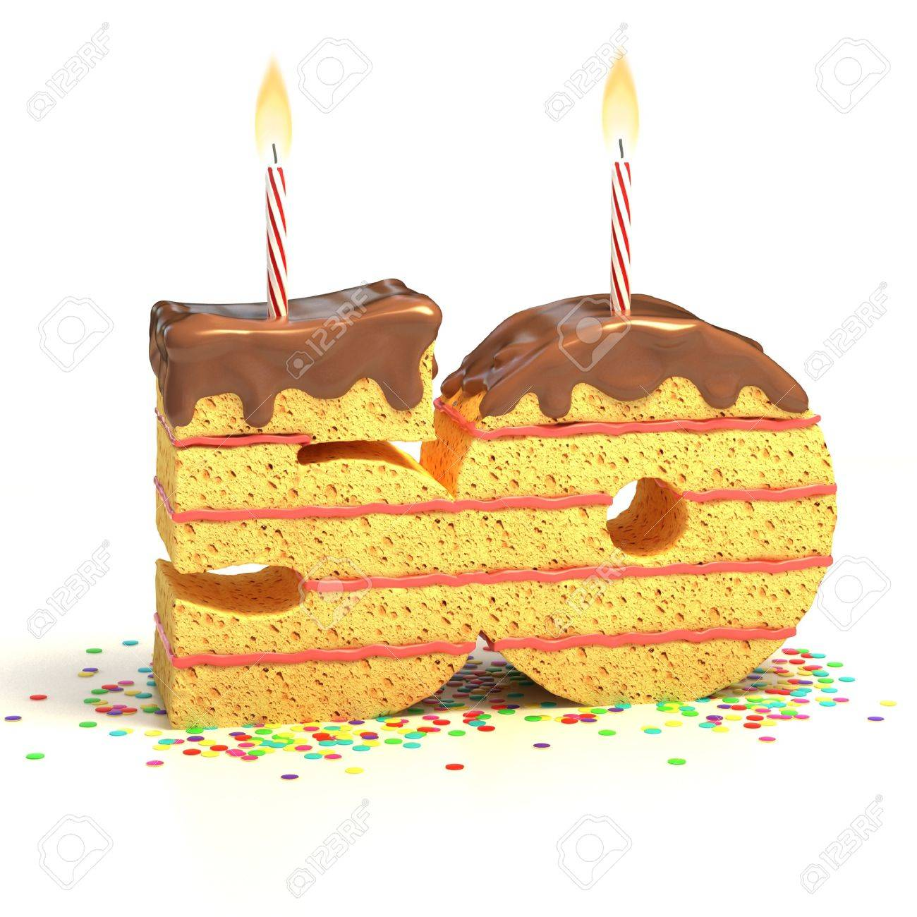 Chocolate Birthday Cake Surrounded By Confetti With Lit Candle For A Fiftieth Or Anniversary Celebration