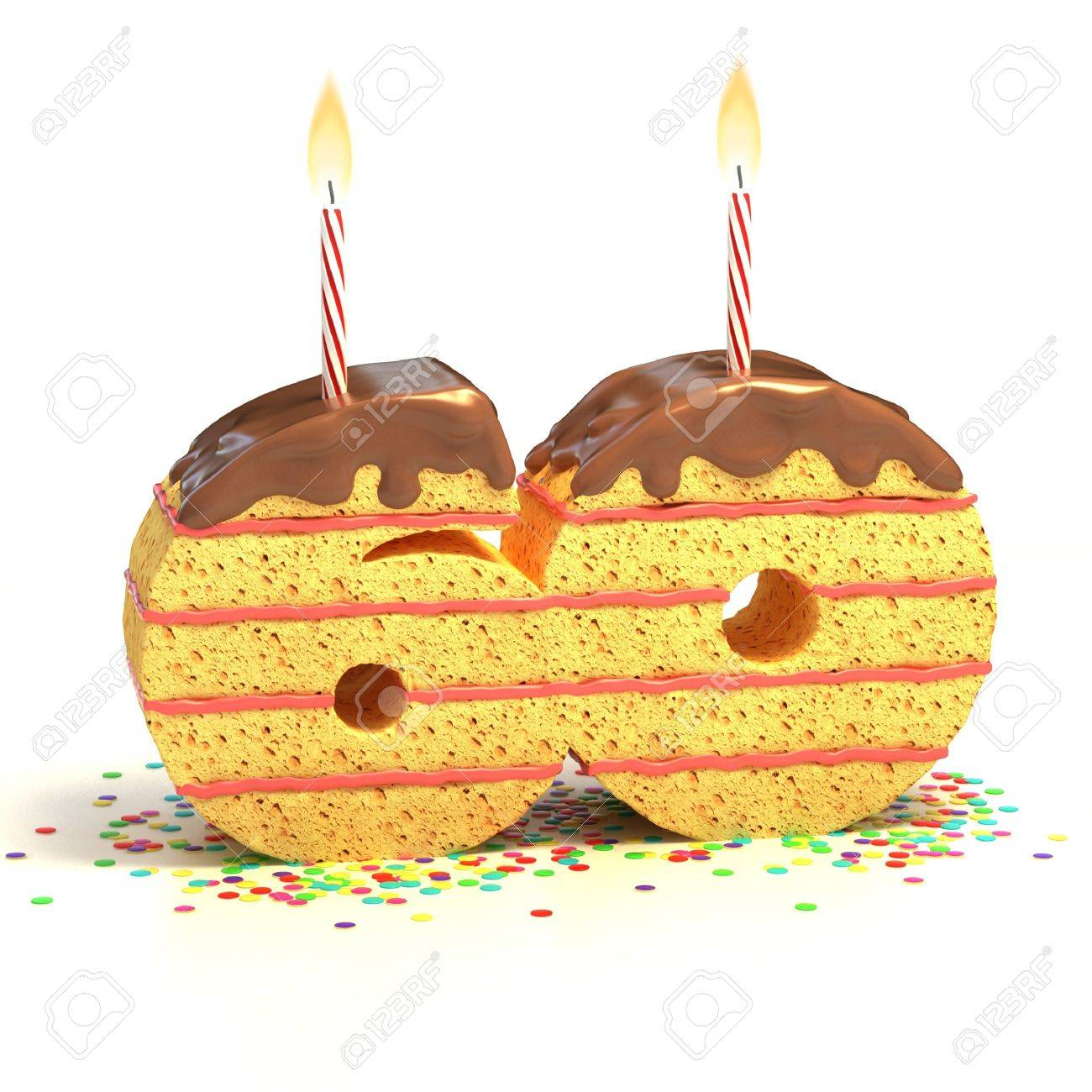 Chocolate Birthday Cake Von Konfetti Umgeben Mit Brennenden Kerze Fur Einen 60 Geburtstag Oder Jubilaum
