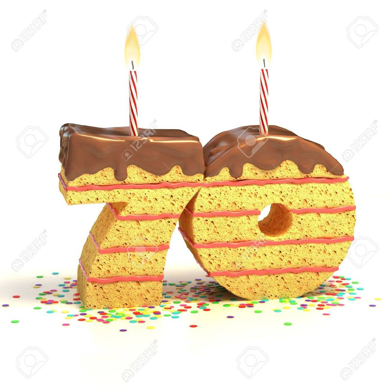 Chocolate birthday cake surrounded by confetti with lit candle for a seventieth birthday or anniversary celebration Stock Photo - 12331650
