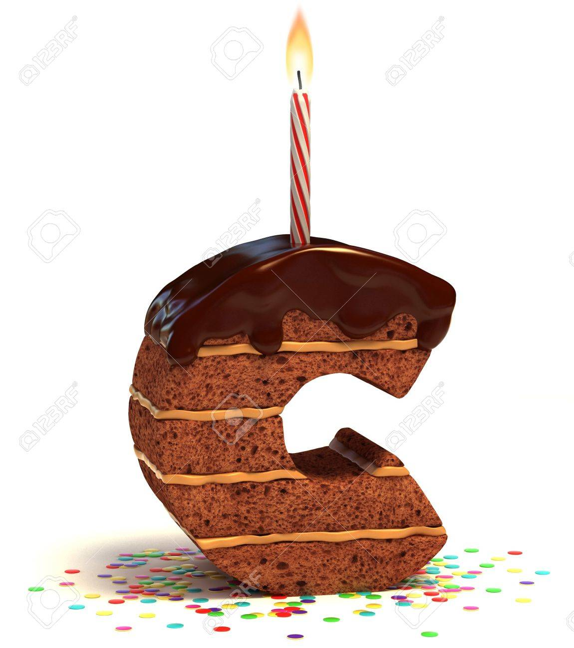 letter c shaped chocolate birthday cake with lit candle and confetti isolated over white background