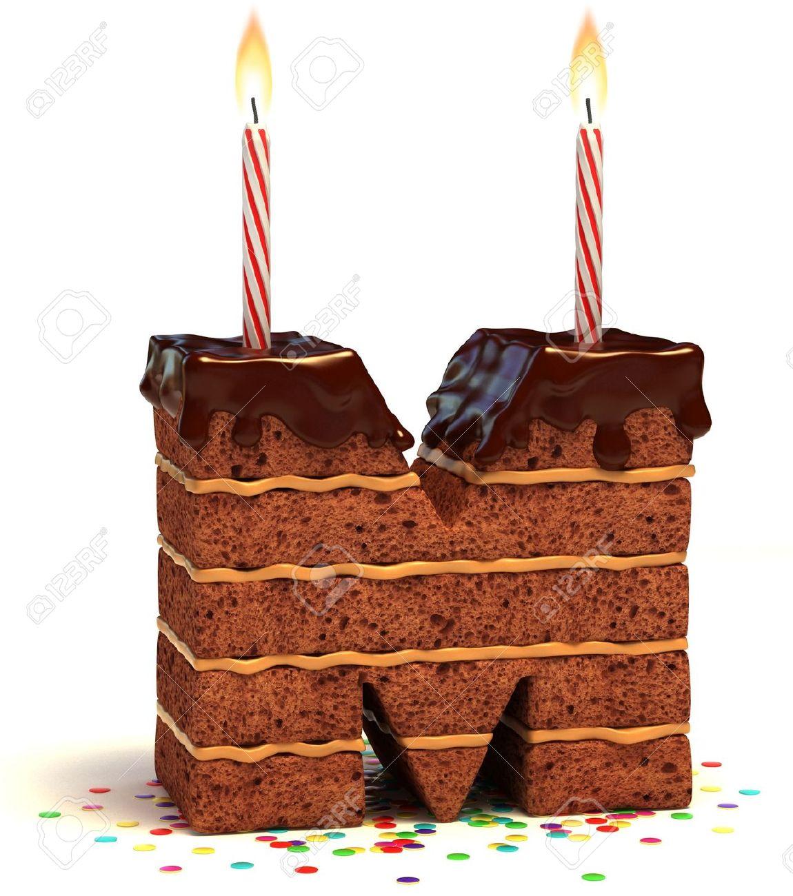 Extrêmement Lettre M Gâteau D'anniversaire Au Chocolat En Forme De Bougie  DV32