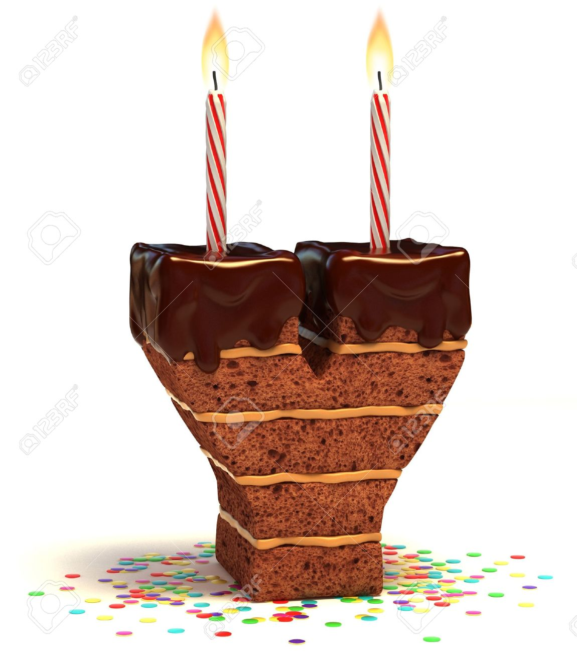Astounding Letter Y Shaped Chocolate Birthday Cake With Lit Candle And Personalised Birthday Cards Bromeletsinfo