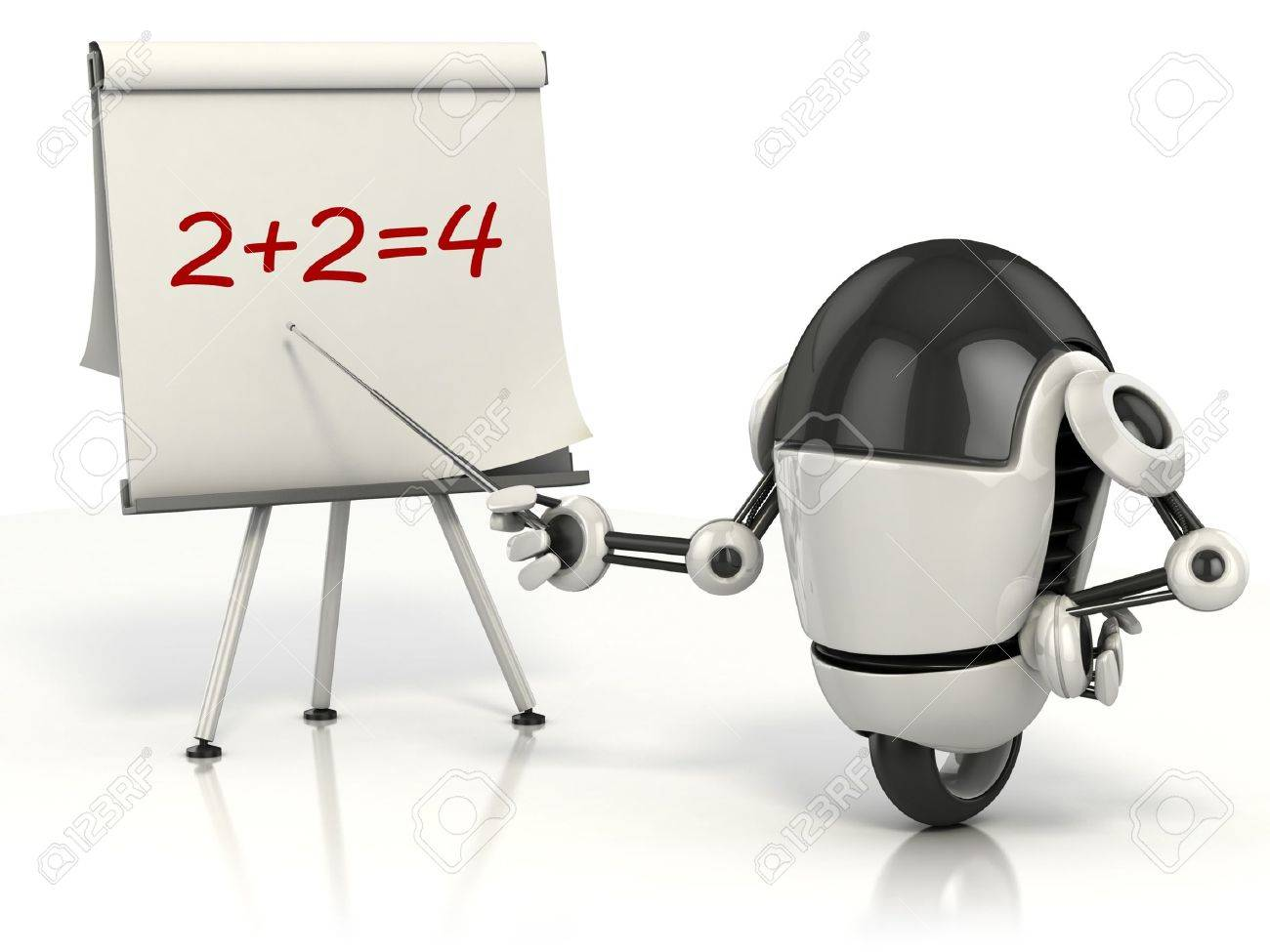 robot teaching math 3d illustration Stock Illustration - 12331345