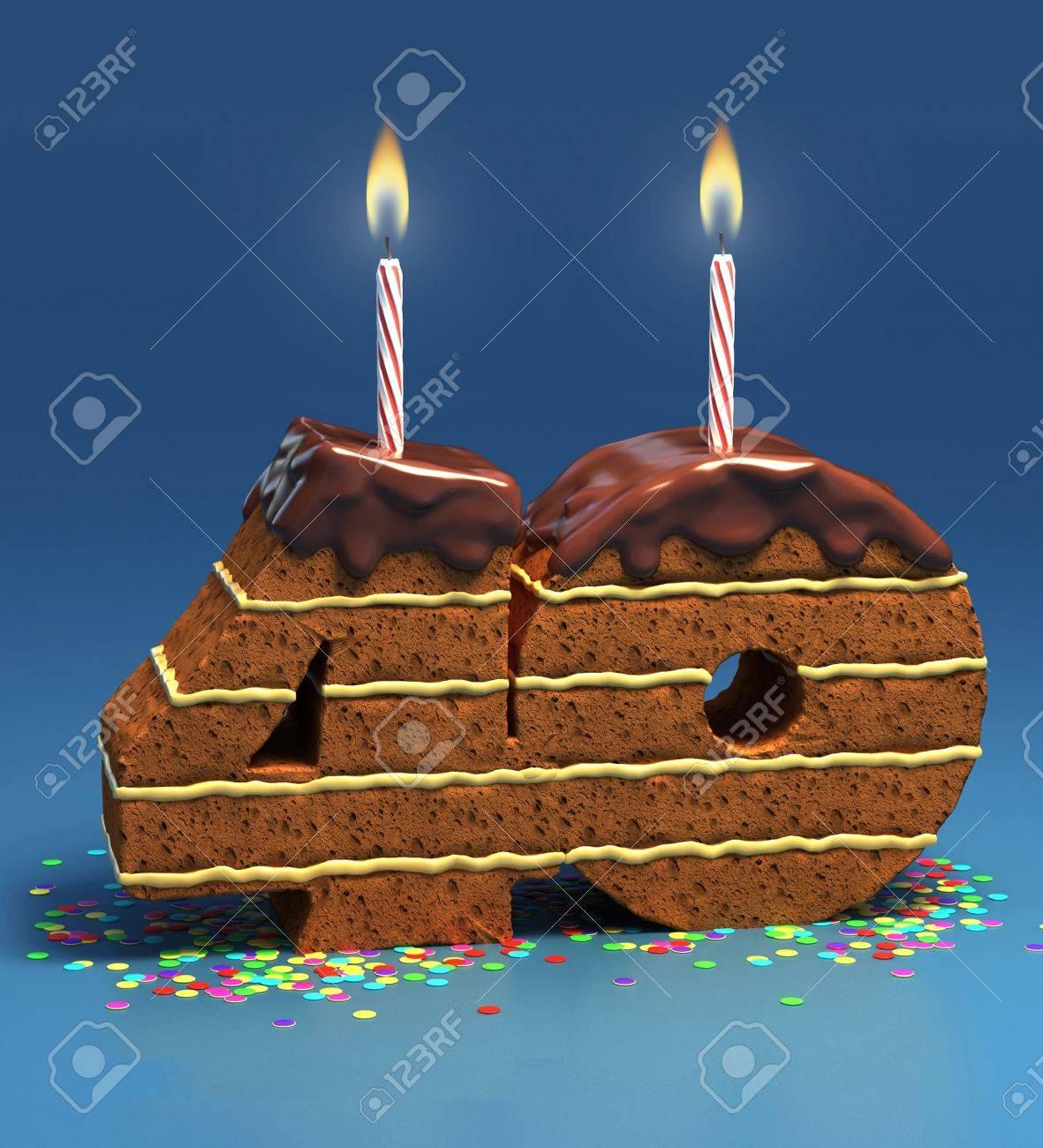 Chocolate Birthday Cake Von Konfetti Umgeben Mit Brennenden Kerze Fur Einen 40 Geburtstag Oder Jubilaum