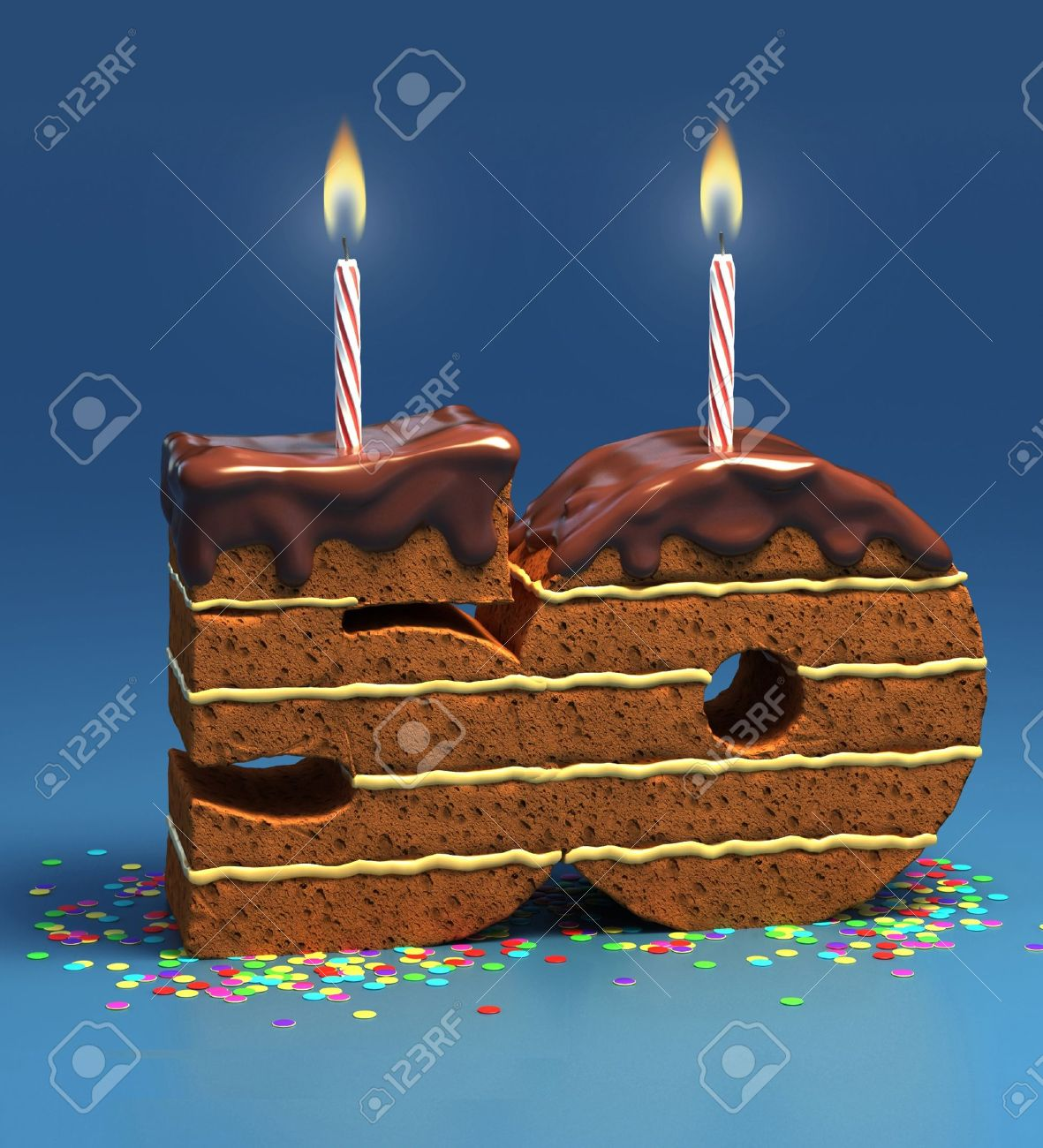 Chocolate Birthday Cake Von Konfetti Umgeben Mit Brennenden Kerze Fur Einen 50 Geburtstag Oder Jubilaum