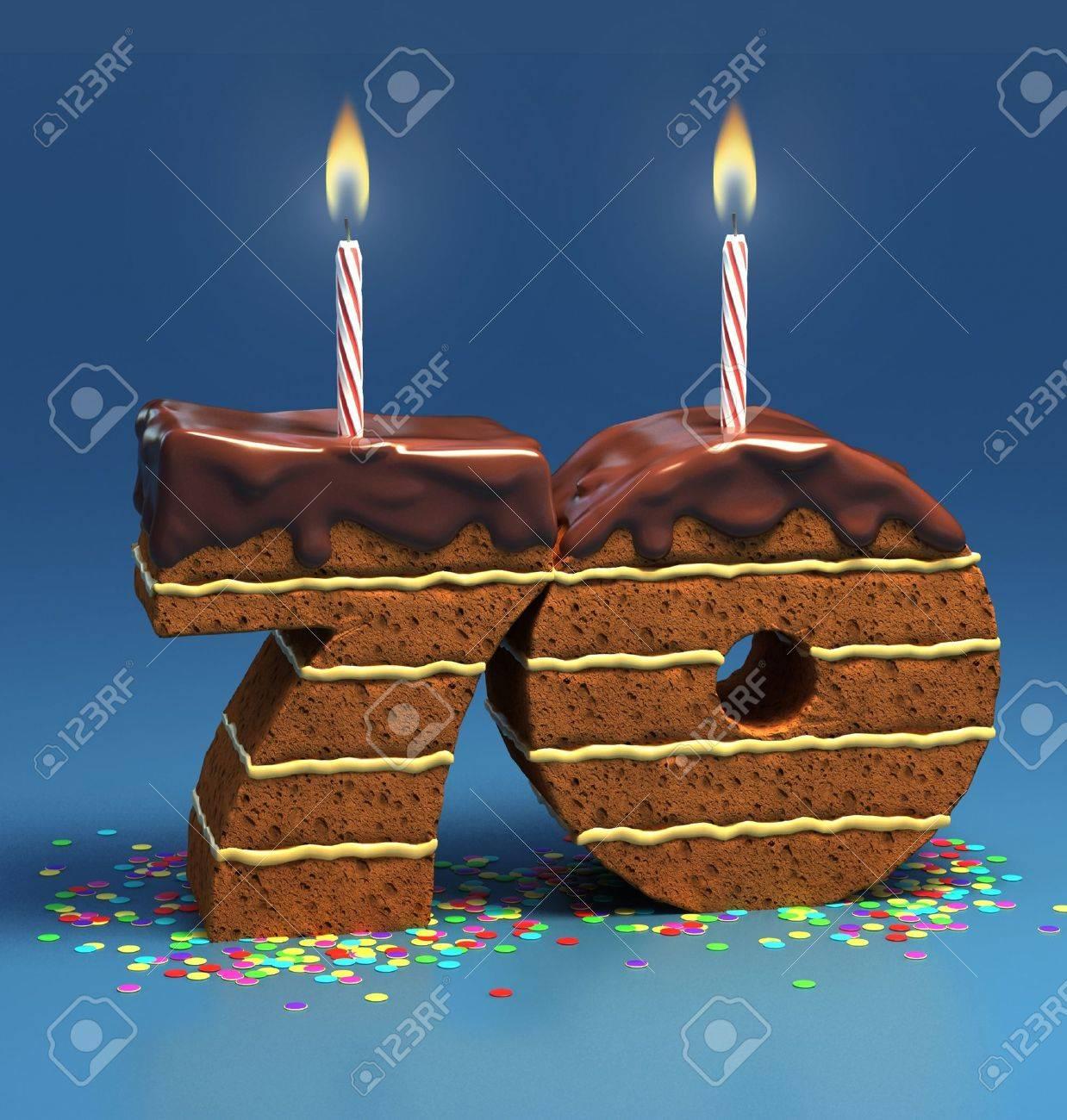 Chocolate Birthday Cake Von Konfetti Umgeben Mit Brennenden Kerze Fur Einen 70 Geburtstag Oder Jubilaum