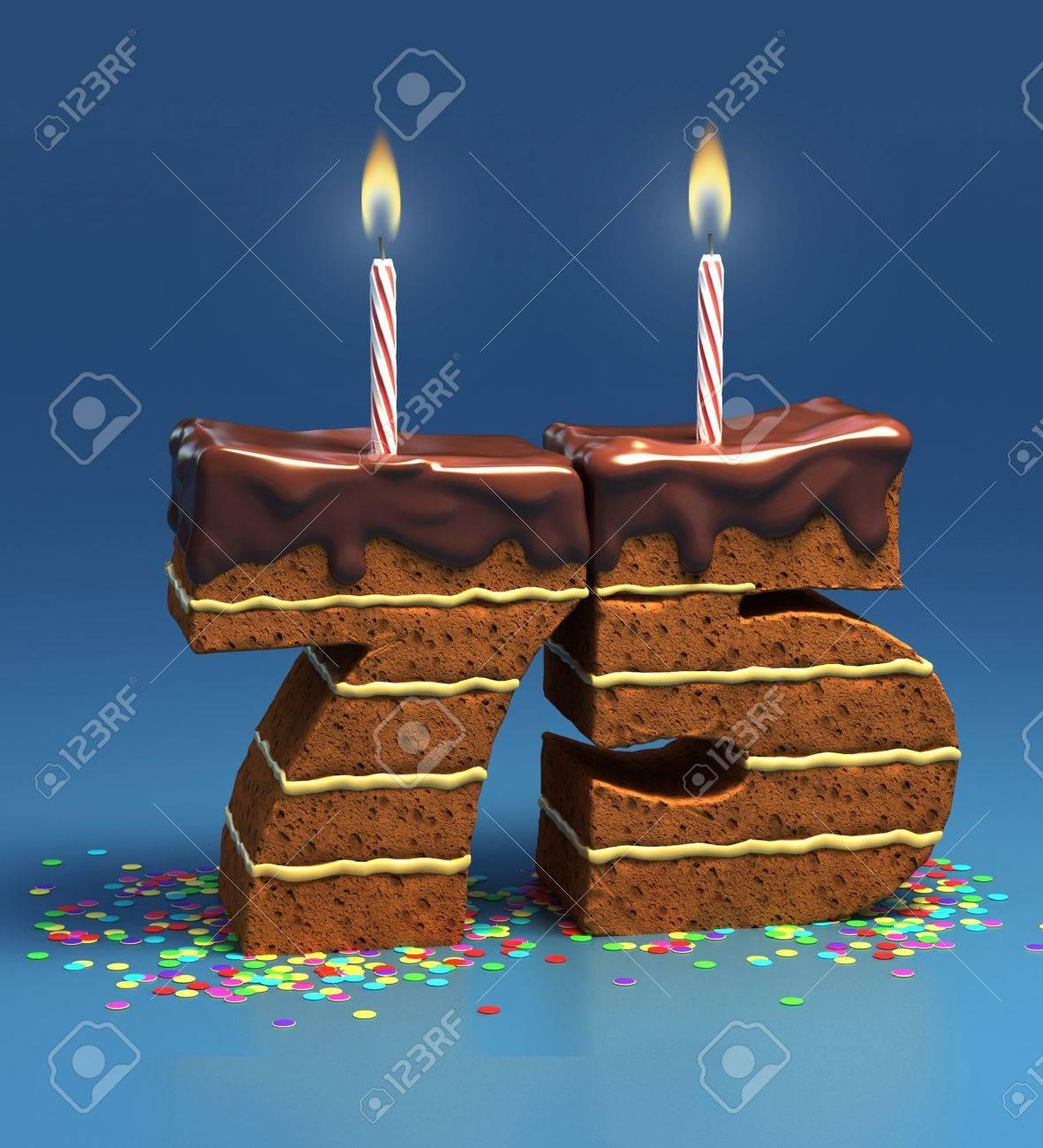 Chocolate Birthday Cake Von Konfetti Umgeben Mit Brennenden Kerze Fur Einen 75 Geburtstag Oder Jubilaum