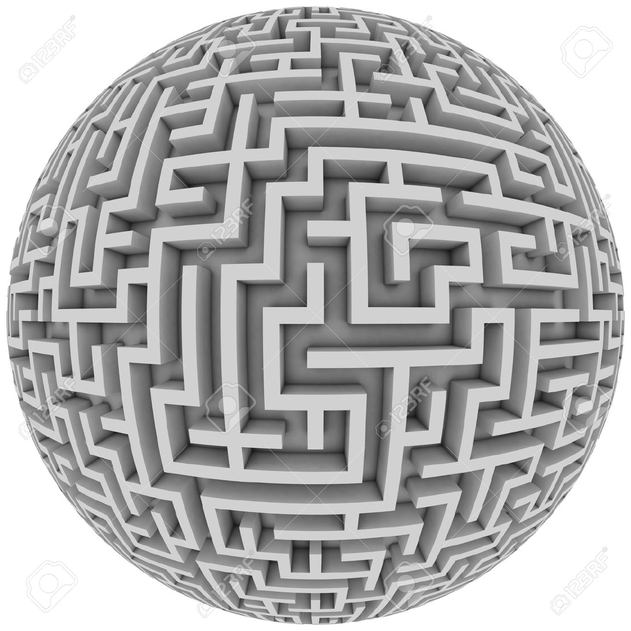 labyrinth planet endless maze with spherical shape 3d illustration