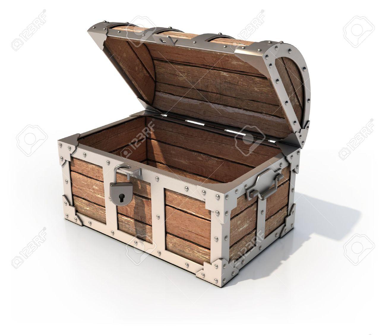 empty treasure chest 3d illustration Stock Photo - 12557985