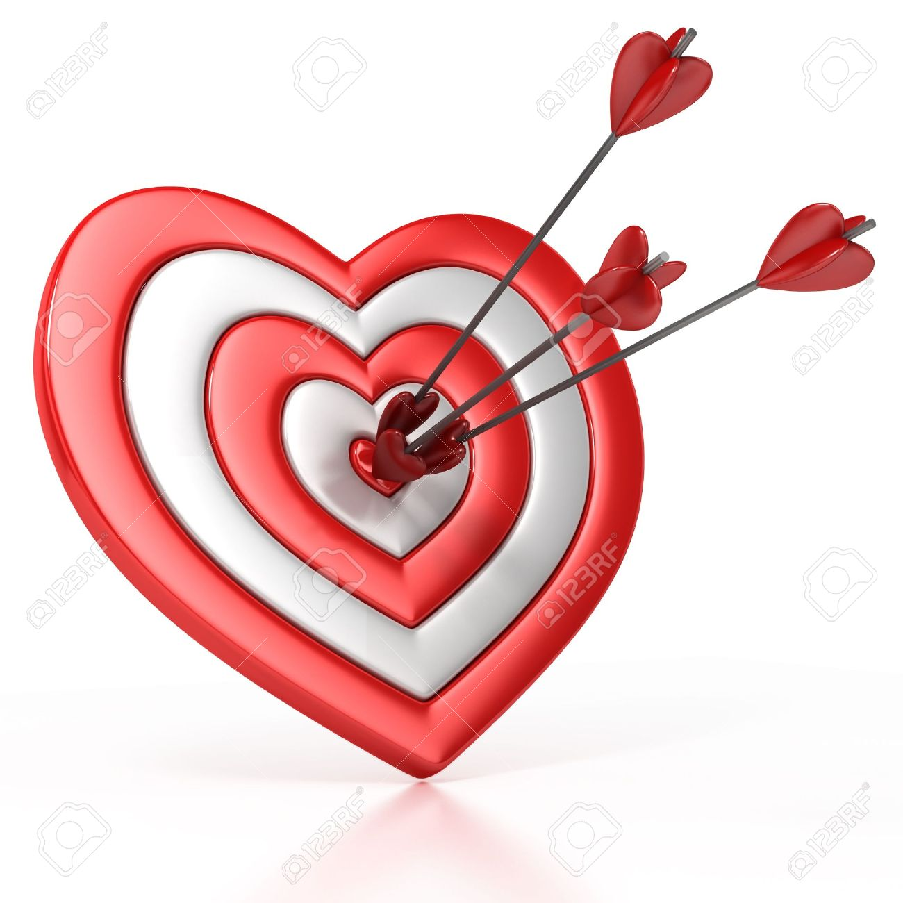 Heart shaped target with the arrow in the center isolated over heart shaped target with the arrow in the center isolated over white 3d illustration stock illustration altavistaventures Images