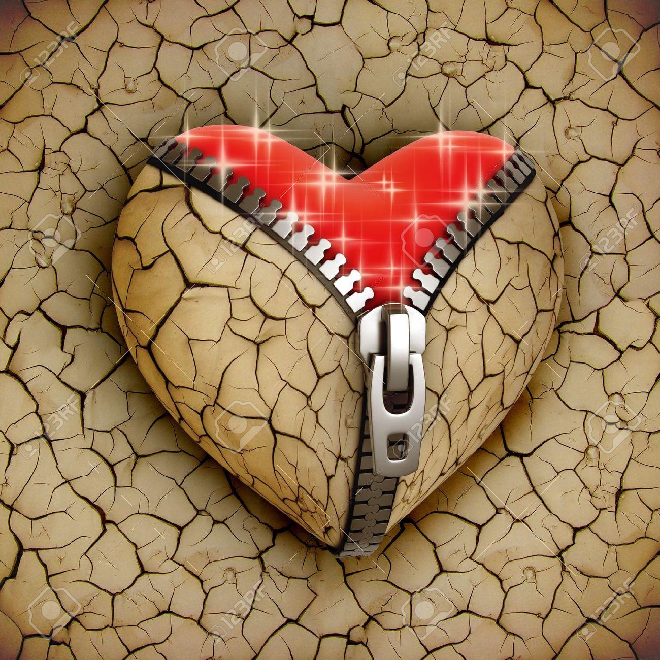 New Love 3d Concept New Shiny Heart Under Broken One Stock Photo