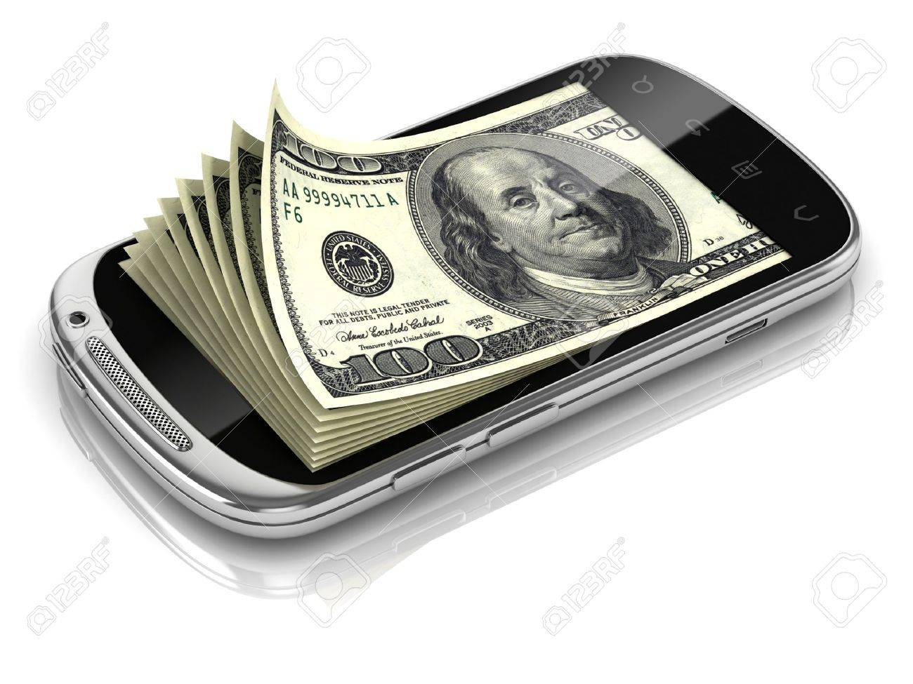 dollars inside smart phone 3d concept Stock Photo - 12557996