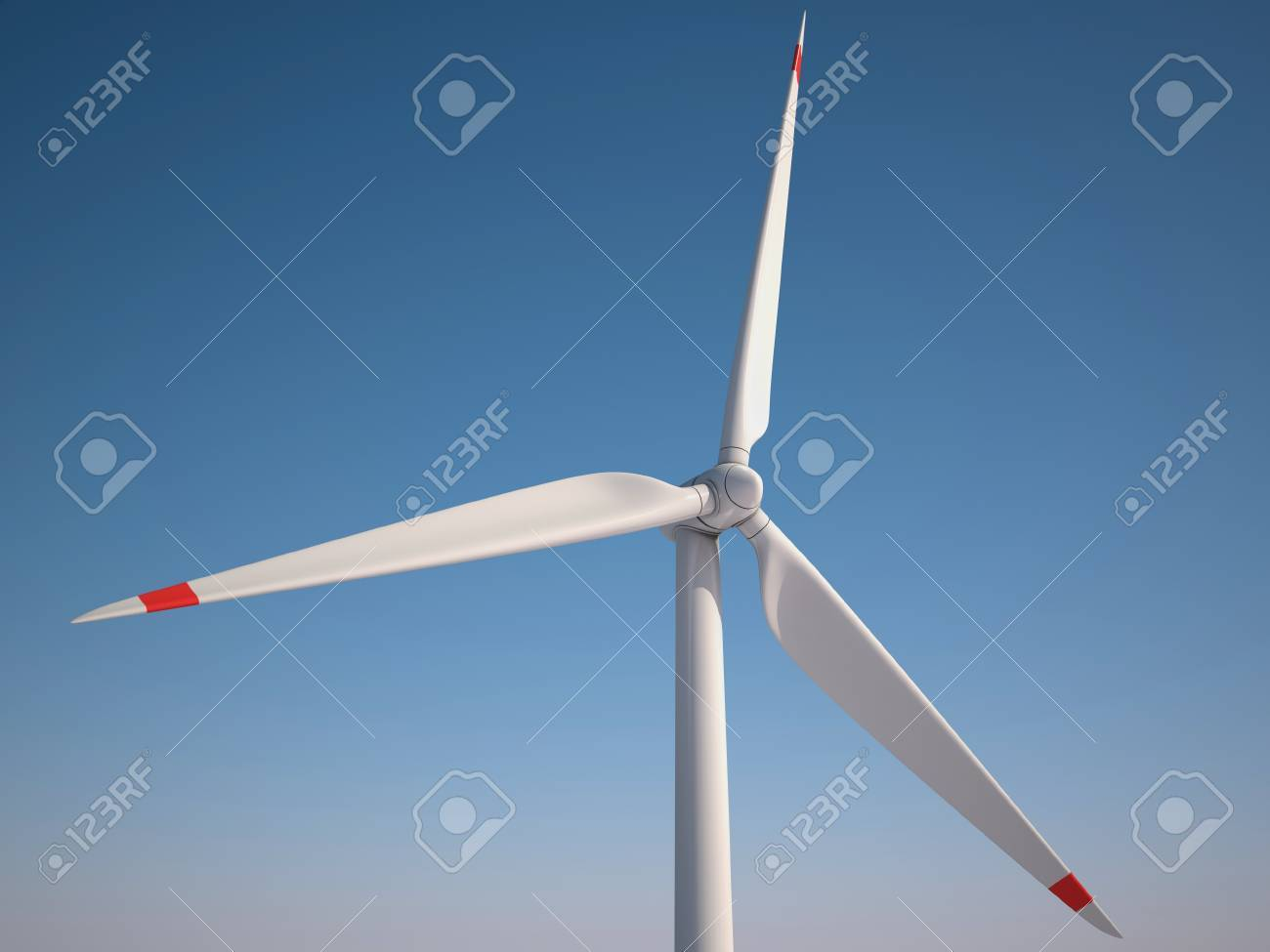 Wind power station against the blue sky - Power generation wind turbines - alternative energy 3d concept Standard-Bild - 12557850