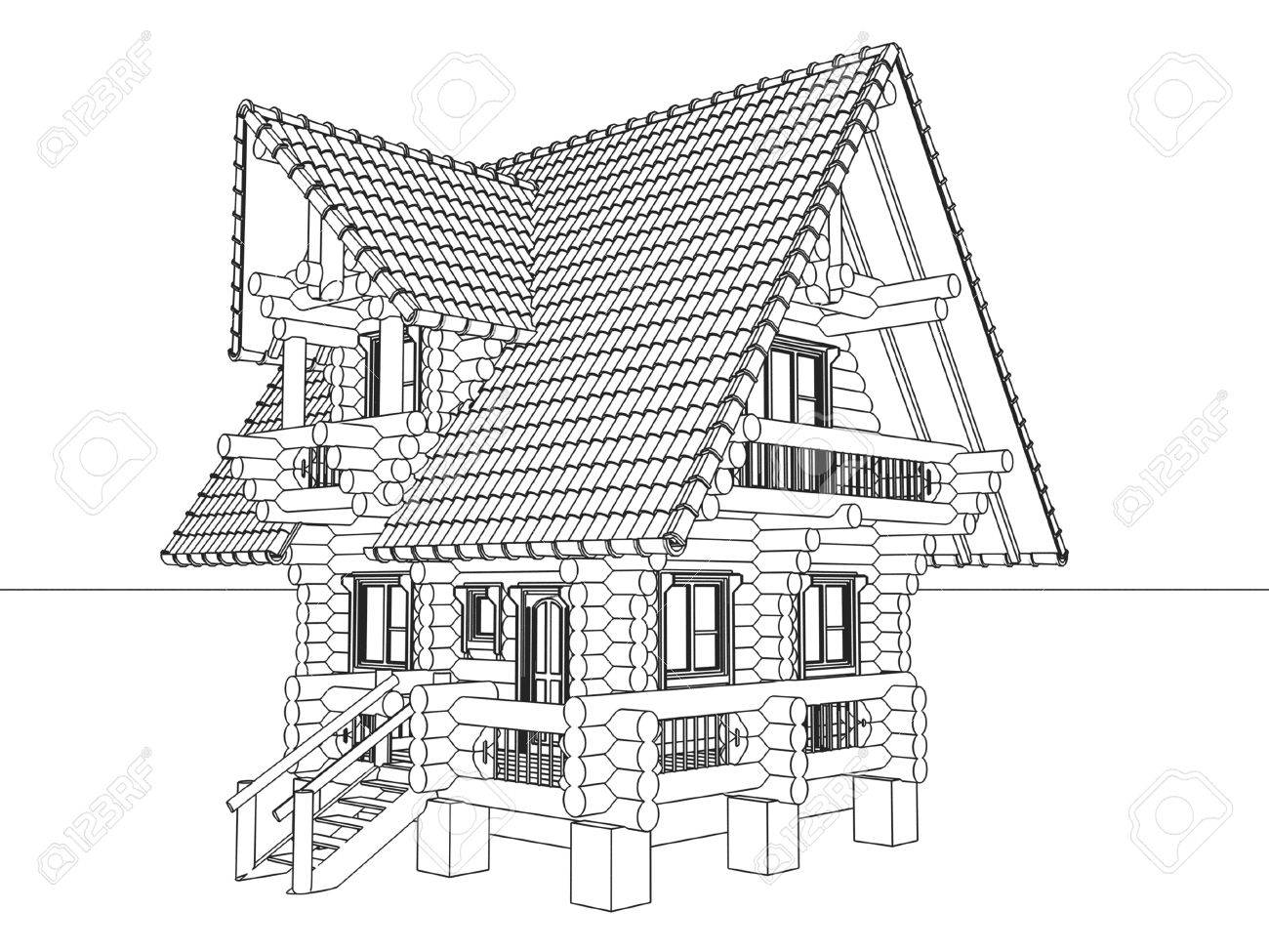 Stock Photo   Wooden House Drawing