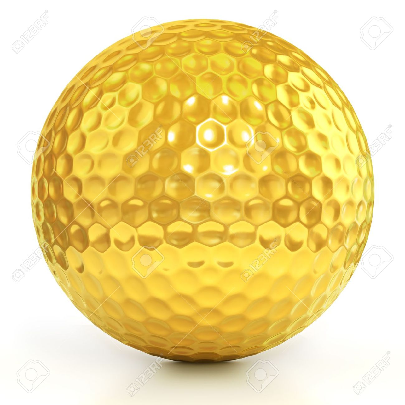 golden golf ball isolated over white background Stock Photo - 12557652