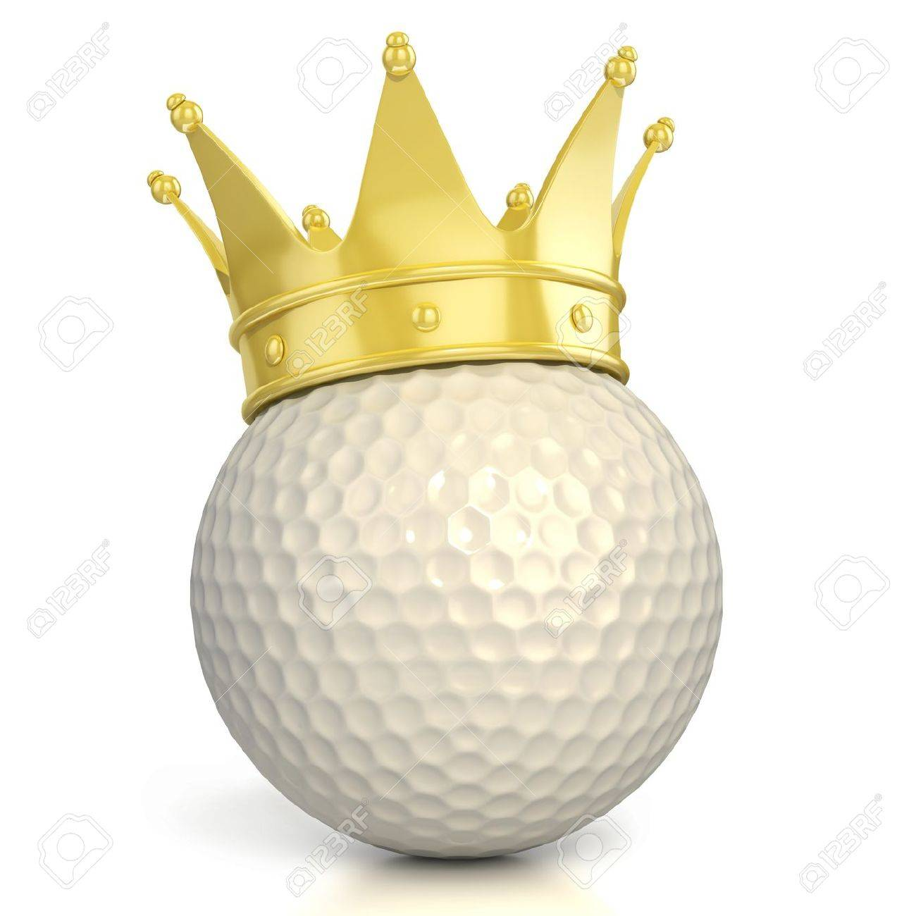 golf ball with golden crown isolated over white background Stock Photo - 12557655
