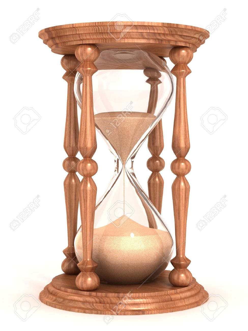 hourglass, sandglass, sand timer, sand clock isolated on the white background 3d illustration Stock Photo - 12557639