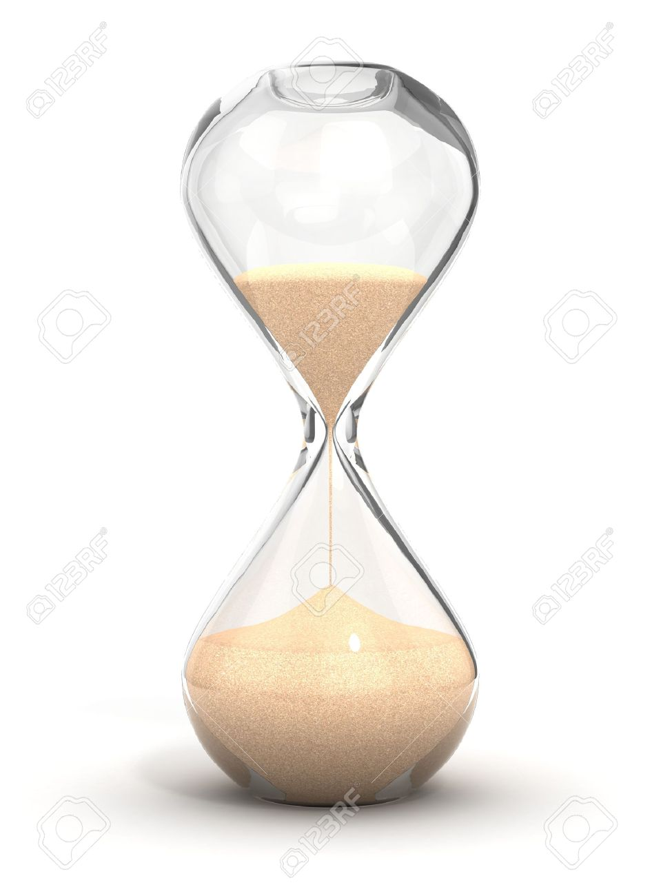 hourglass, sandglass, sand timer, sand clock isolated on the white background 3d illustration Stock Illustration - 12557644