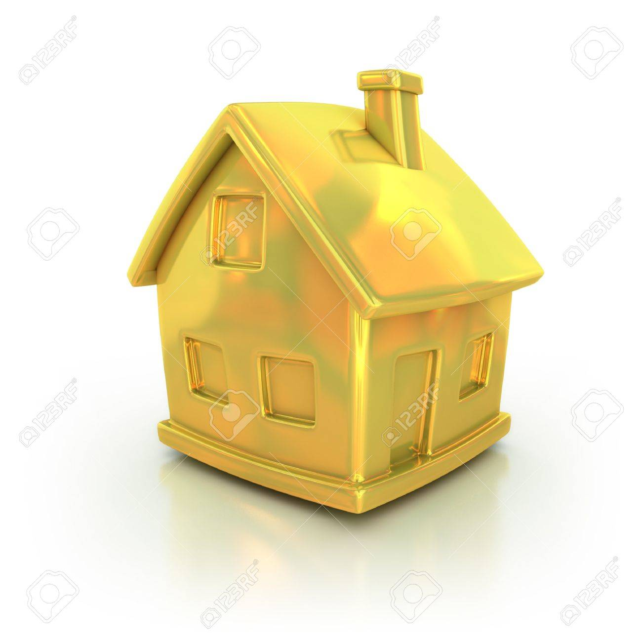Golden House 3d Icon Stock Photo   12557733