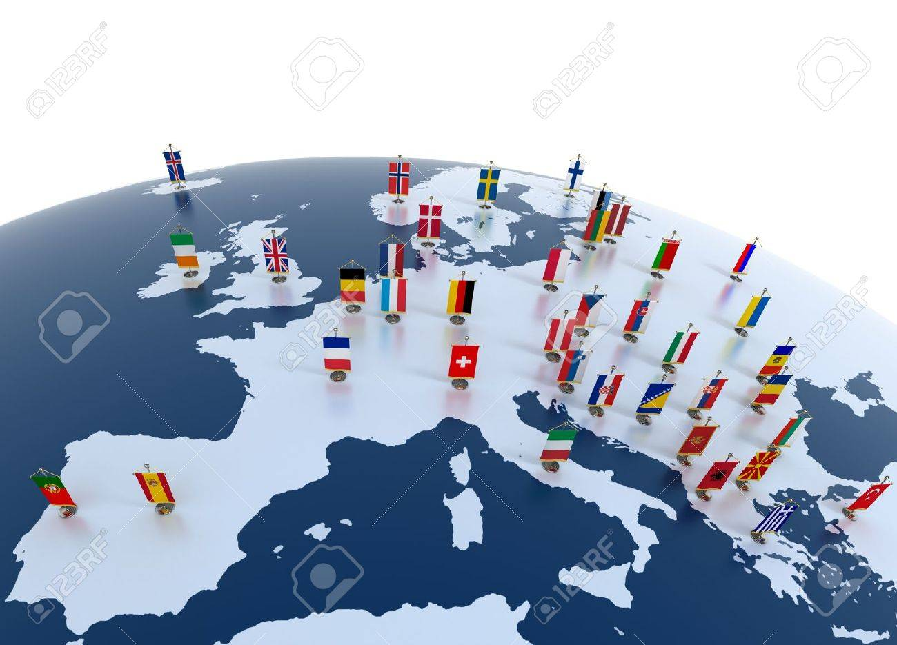 european countries 3d illustration - european continent marked with flags - 12557547