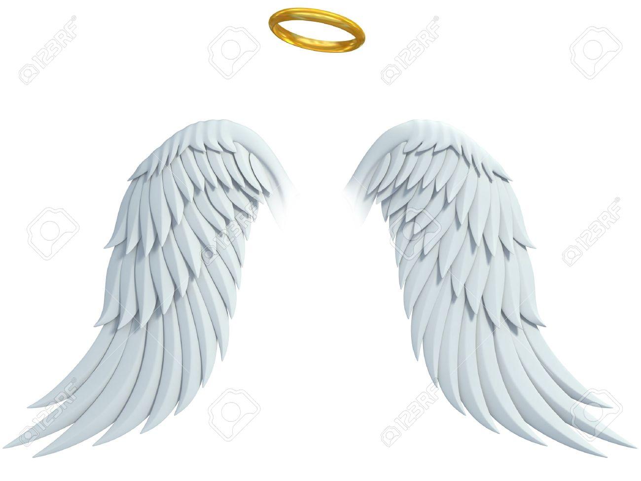 Angel Design Elementen Vleugels En Gouden Halo Geïsoleerd Op De