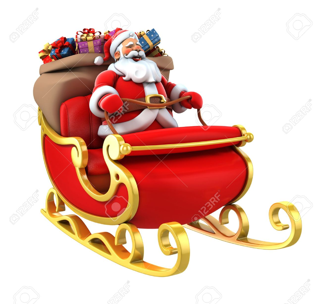 Santa sleigh ornament - Stock Photo Santa Sledge Deers