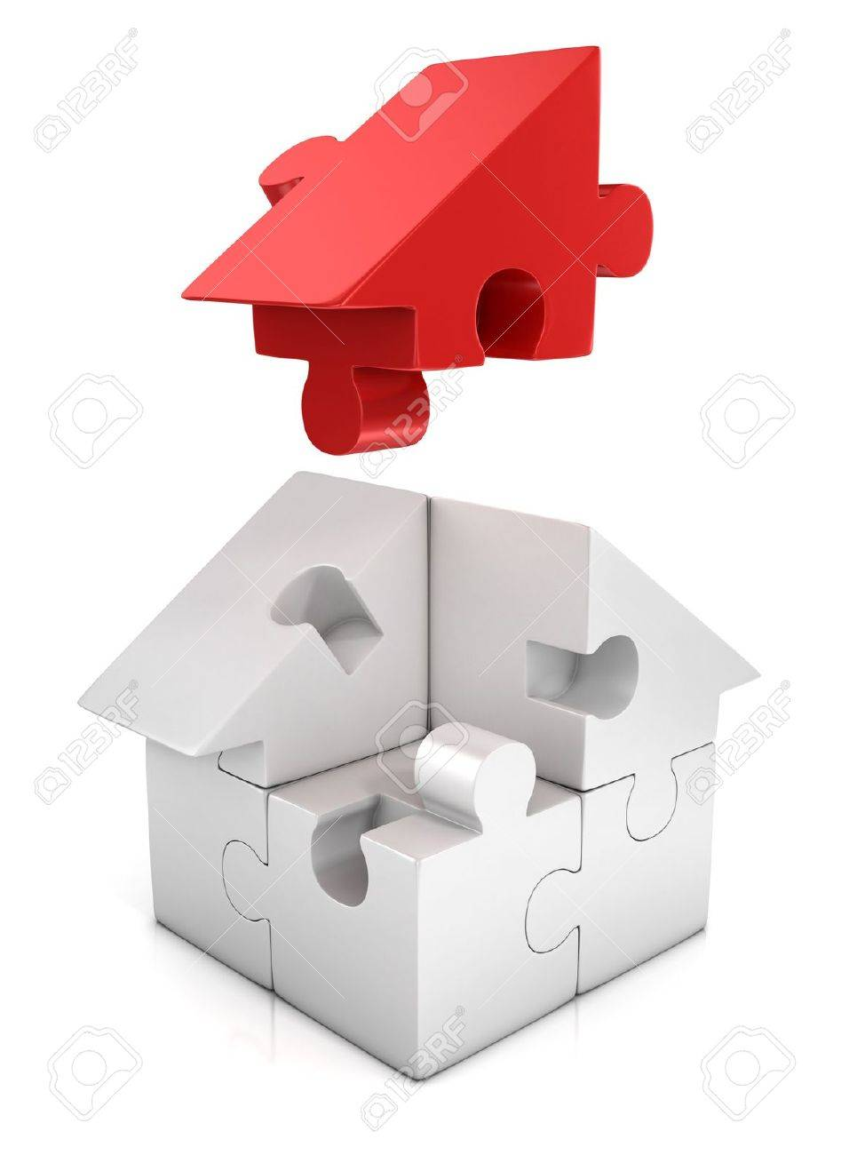jigsaw house 3d illustration Stock Photo - 19776002