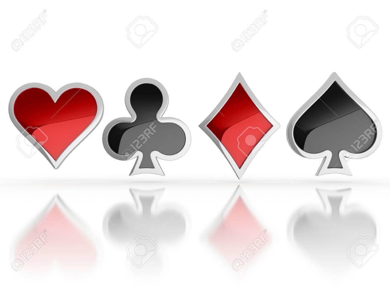 Jugando A Las Cartas Símbolos - Corazón, Club, Diamante Y Los Iconos ...