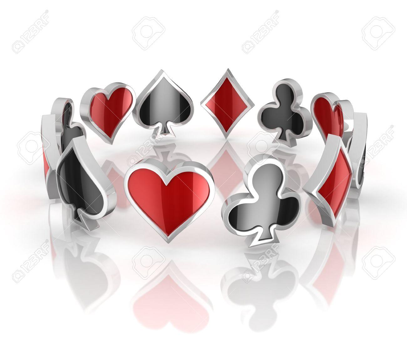 Jugando A Las Cartas Símbolos 3d - Corazones, Tréboles, Diamantes Y ...