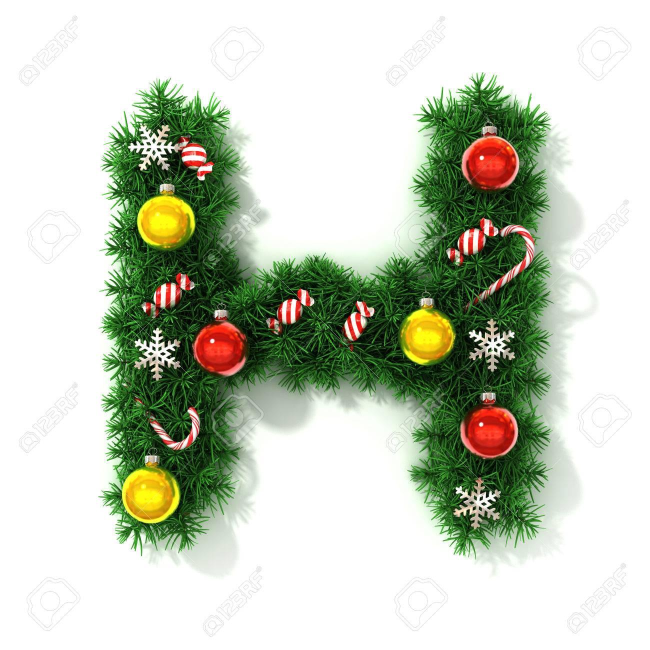 Christmas Font Letter H Stock Photo  40016203