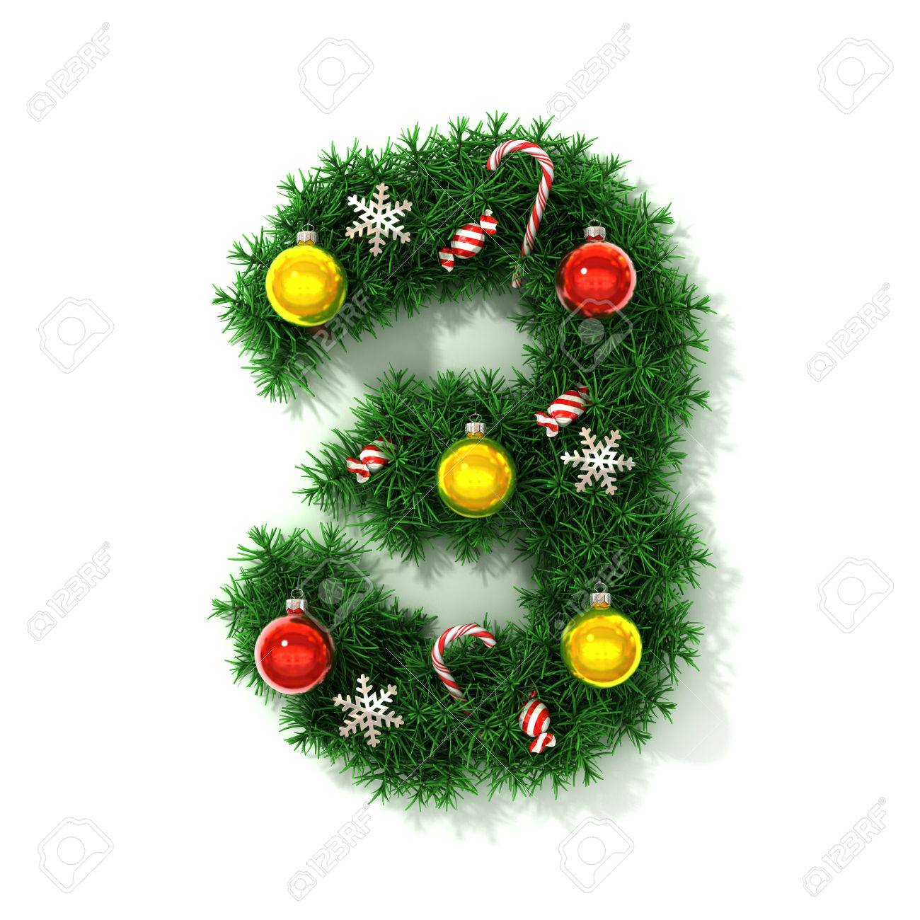 Christmas Tree Font Number 3 Stock Photo  40266158