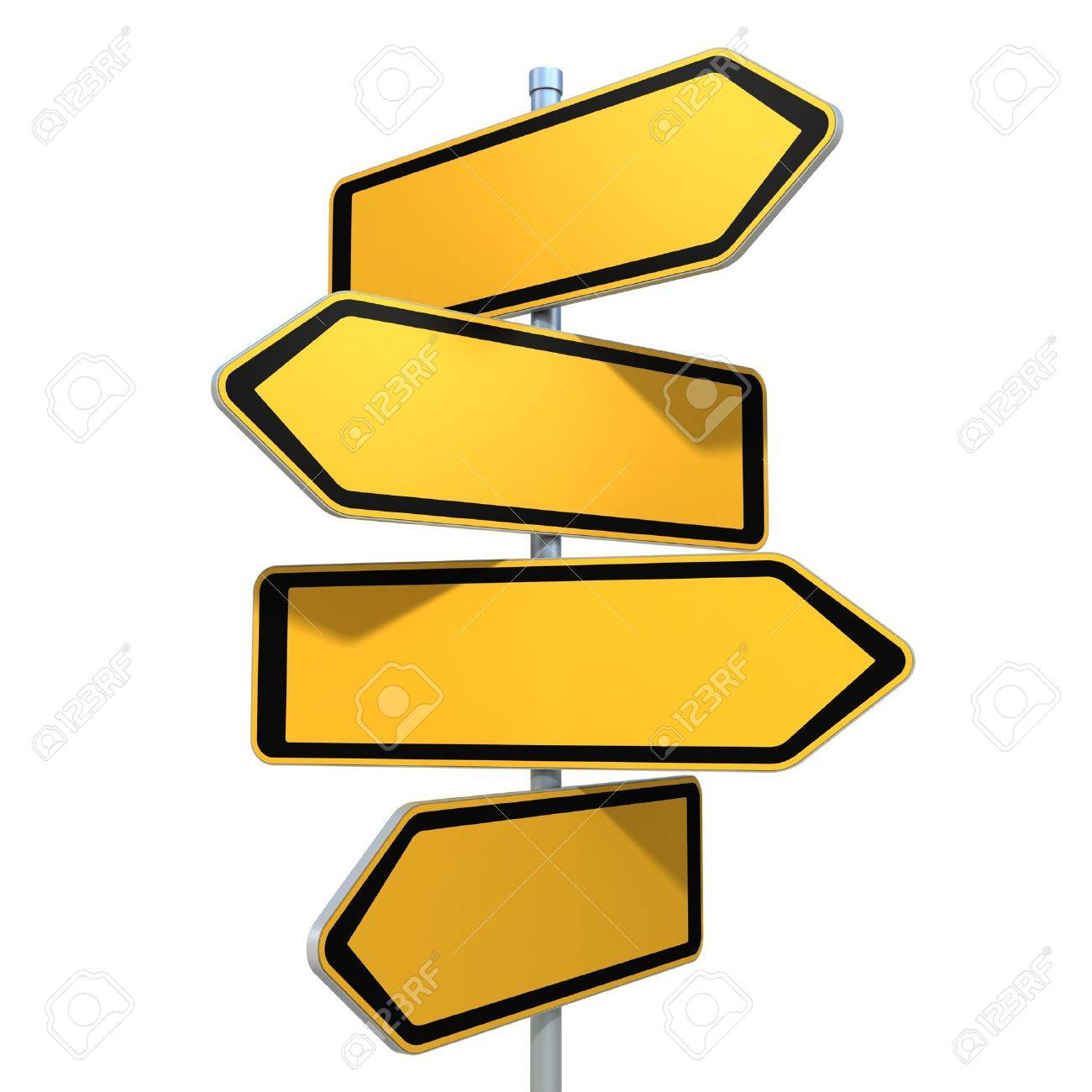 blank road signs pointing in the different directions stock photo
