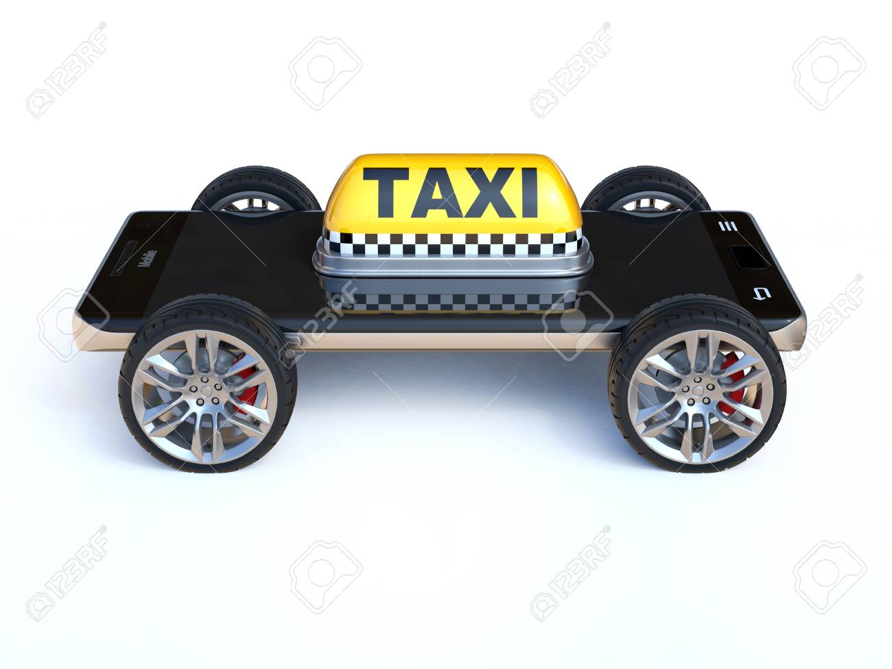 Mobile Phone With Taxi Sign And Wheels Taxi App On A White
